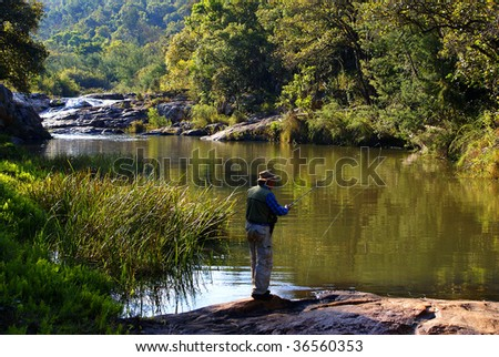 Senior fly fishing