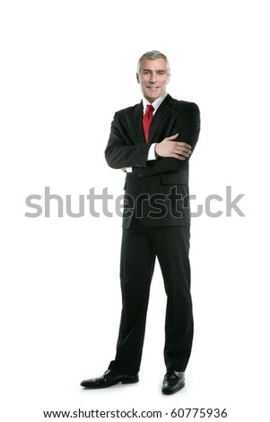 stock photo : senior full length businessman posing stand isolated on white