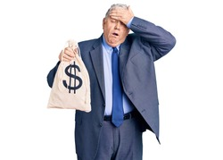 Senior grey-haired man wearing business suit holding money bag with dollar symbol stressed and frustrated with hand on head, surprised and angry face