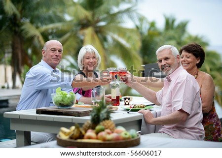 Senior group having a toast during a dinner on a terrace - stock photo
