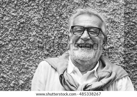 Senior Handsome Man Smiling Happiness Concept