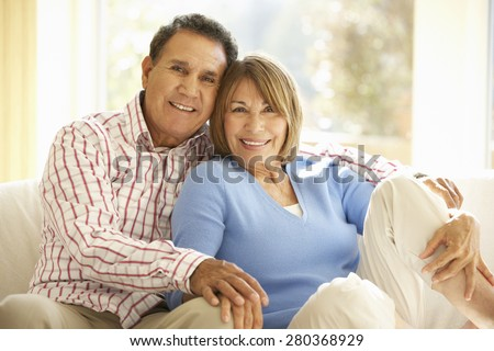 Senior Hispanic Couple Relaxing At Home #280368929