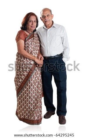 Senior Indian couple - isolated on white