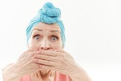 Senior lady expressing her shock