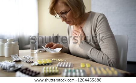 Senior lady feeling unwell, poor quality of medication dangerous self-medication