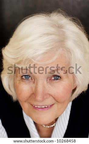 Senior lady portrait,looking up