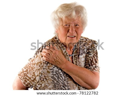 Senior lady with shoulder pain