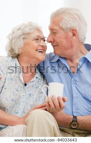 Senior loving couple enjoy together their retirement at home