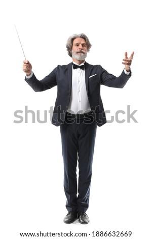 Senior male conductor on white background Foto stock ©