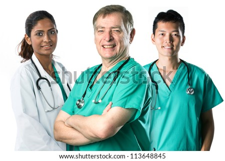 Senior male doctor standing with a colleague. Isolated on white background.