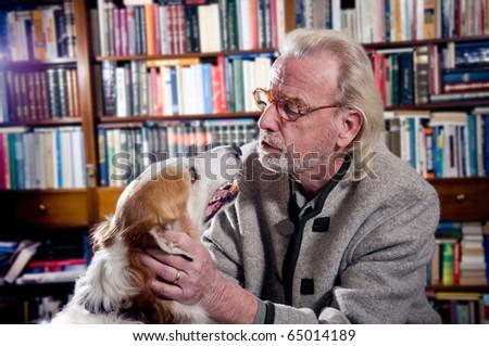 Senior man and his dog
