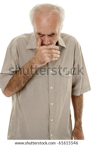 Senior man coughing