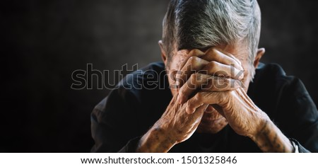 senior man covering his face with his hands. Depression and anxiety Copy space. Сток-фото ©