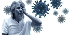 Senior man covers his eye and face with hands, outbreak and global epidemic virus, 3D virus illustration