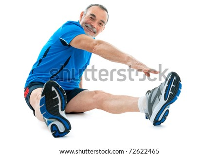 senior man doing warm-up exercises. Isolated on white.
