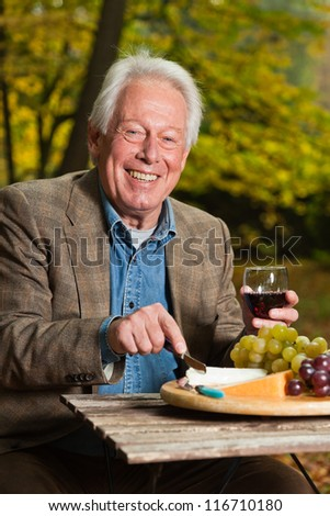 Senior man enjoying red wine and cheese outdoors in autumn forest. - stock photo