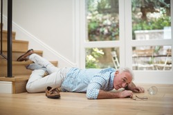 Senior man fallen down from stairs at home
