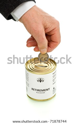 Senior man hand putting coin in retirement package tin can - isolated with reflection