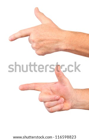 senior man hands show forefinger, point gesture, isolated