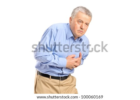 Senior man having a heart attack isolated on white background