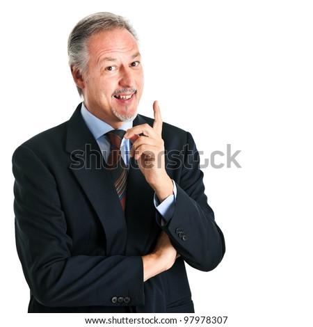 Senior man having an idea isolated on white