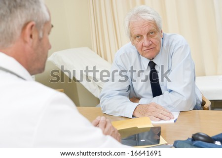 Senior man in doctor's office