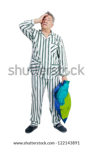 Senior man in pajamas isolated in white