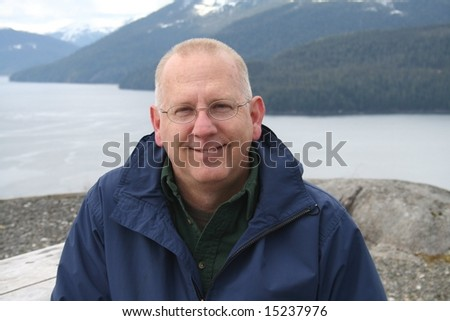 Senior Man on Vacation in Southeast Alaska in the Tongass National Forest