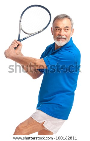 senior man playing tennis. Isolated on white