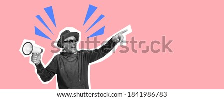 Senior man pointing with megaphone. Collage in magazine style with bright coral pink background. Flyer with trendy colors, copyspace for ad. Discount, sales season, fashion and style concept.