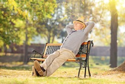 Senior man relaxing in park on a sunny day seated on a wooden bench