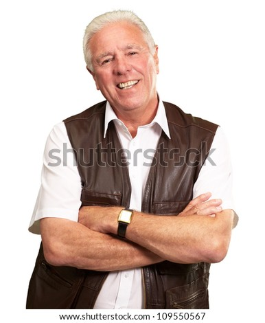 Senior Man Smiling With Hands Folded Isolated On White Background