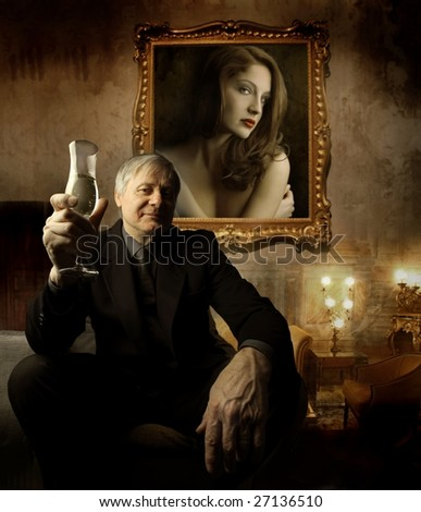 senior man toasting in a luxury interior - stock photo