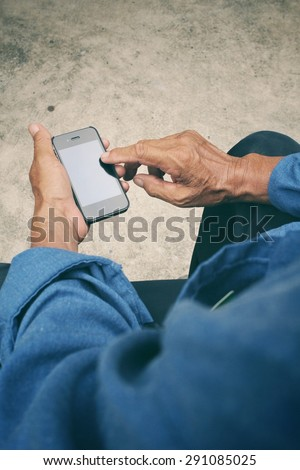 Senior man using smart phone  #291085025