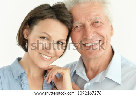 senior man with adult daughter #1092167276