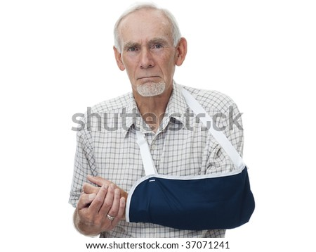 Senior man with arm in sling