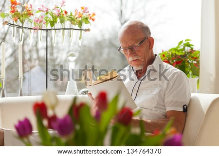 Senior man with glasses reading book in living room. - stock photo