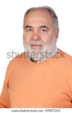 Senior man with hoary hair isolated on white background