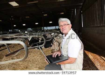 Senior man with laptop in barn