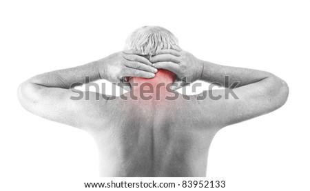 Senior man with neck pain, isolated in white