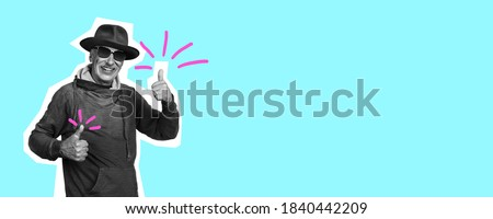 Senior man with nice sign. Collage in magazine style with bright blue background. Flyer with trendy colors on background, copyspace for ad. Discount, sales season, fashion and style concept.