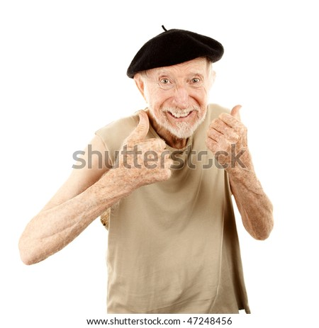 Senior man with pleasant expression wearing beret