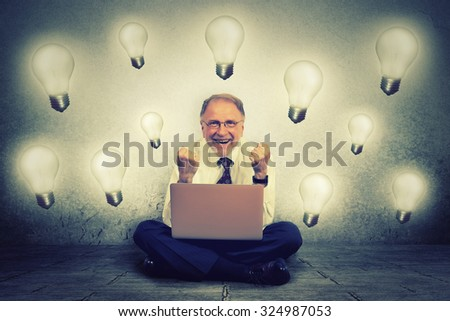Senior man working on computer with light bulb plugged in it celebrates business success