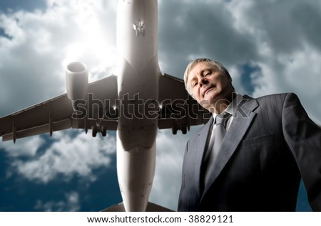 senior manager and a plane flying