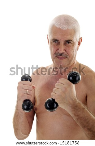 stock photo : Senior naked man with dumb-bells concentrated face