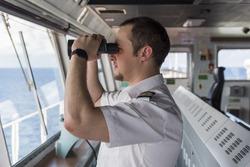 Senior Navigation Officer Navigating his Ship