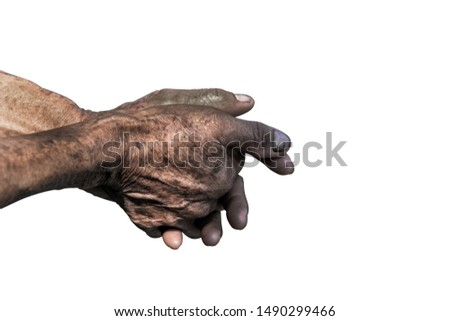 Senior old hands and arms.fingers and nails with veins. wrinkled skin of aged person. aging process.hand dirty of worker after working isolated on white background