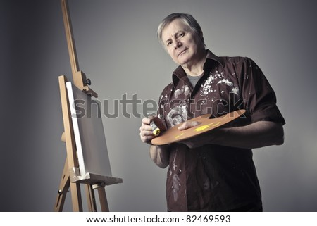Senior painter holding a palette