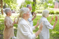 Senior people doing chi kung exercise in the park stock photo
