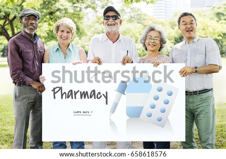 Senior people holding billboard network graphic overlay #658618576